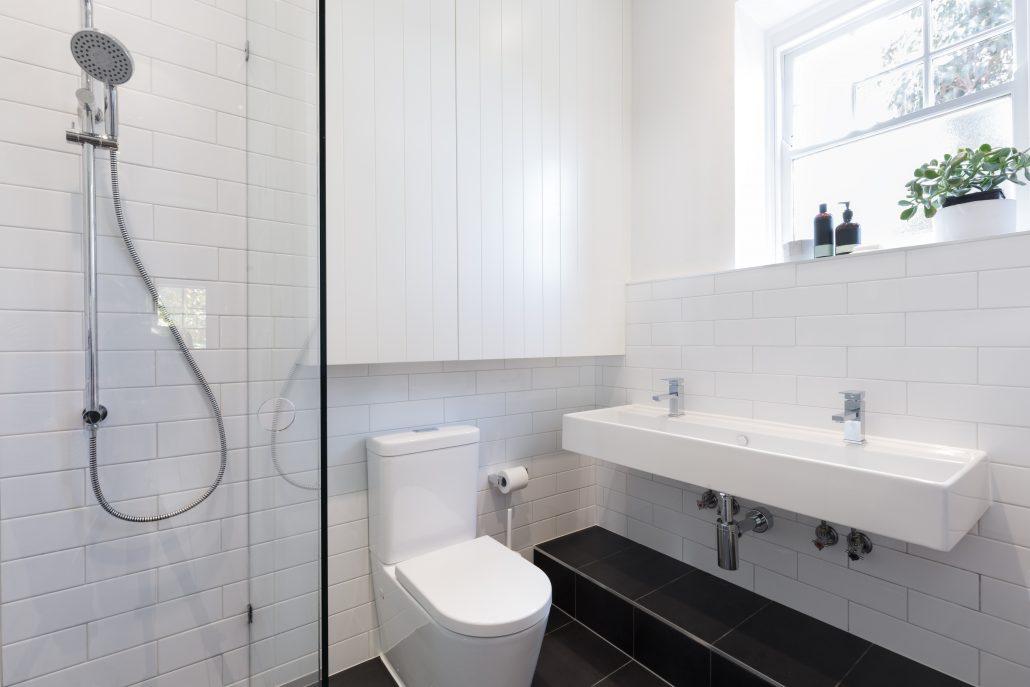 white tiles in bathroom